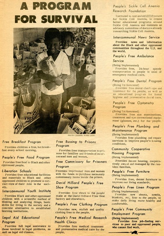 Black Panther Party Survival Programs, 1972. +