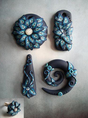 schwarz mit Blättercane türkis