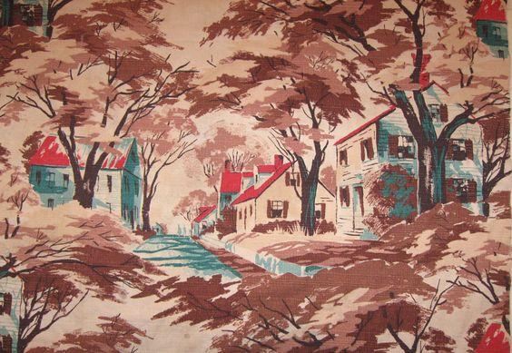 "Vintage Barkcloth New England Village Fabric Drape Panel 86 x 58"". $175.00, via Etsy."