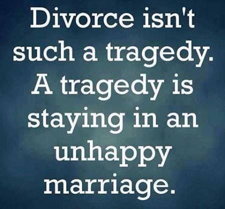 "Divorce..I wish divorce was as easy as marriage.  In a few days time, file, find a 24 hour judge, ""I now pronounce you both free."""