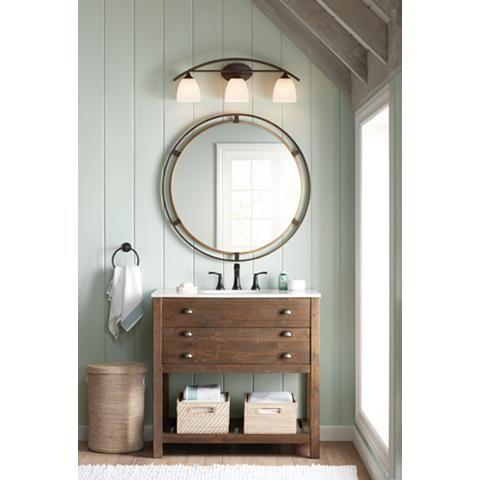 Uttermost Crest Bronze And Gold 34 Round Wall Mirror 42a41 Lamps Plus Bronze Bathroom Round Mirror Bathroom Round Wall Mirror
