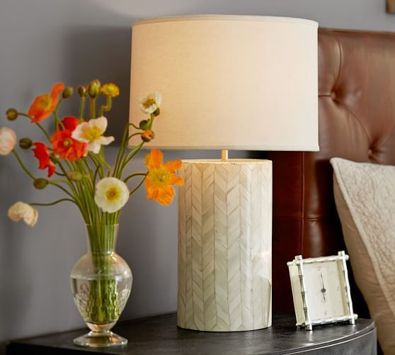 jordan bone inlay table lamp base pottery barn low lighting for living room - Living Room Lamps