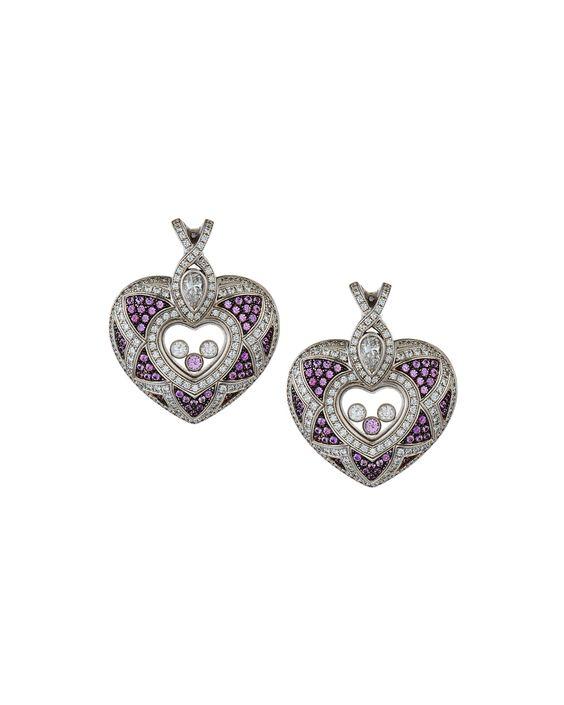 Chopard Happy Diamonds 18k Pink Sapphire & Diamond Heart Clip Earrings, Women's