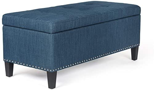 Amazing Offer On Joveco Microfiber Button Tufted Rectangular Storage Ottoman Bench Steelblue Online Lovetopfashion In 2020 Tufted Storage Ottoman Storage Ottoman Storage Ottoman Bench