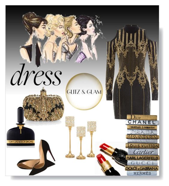 """""""Party ON"""" by hilde-iii ❤ liked on Polyvore featuring Balmain, Christian Louboutin, Godinger, Alexander McQueen, Tom Ford and longsleeve"""