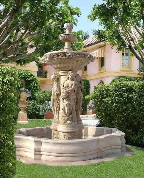 Water fountains front yard and backyard designs yard for Front yard garden designs with water feature
