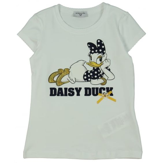 Monnalisa Girl's White T-Shirt with Daisy Duck Print. Available now at www.chocolateclothing.co.uk #childrenswear #minifashion #Monnalisa #chocolateclothing