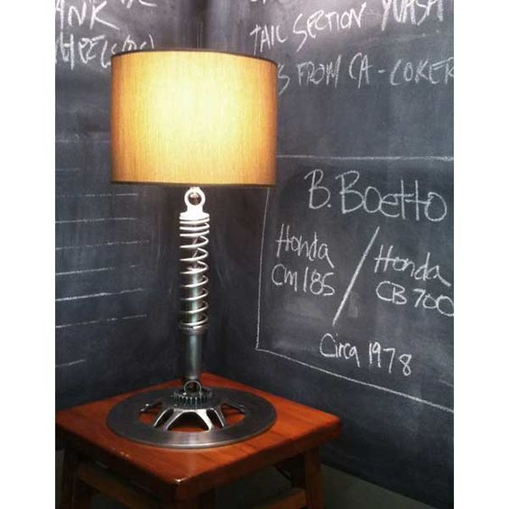 Recycled car parts lamp and chalk board walls  Inside and Outside  Pinterest  Cars, Car parts ...