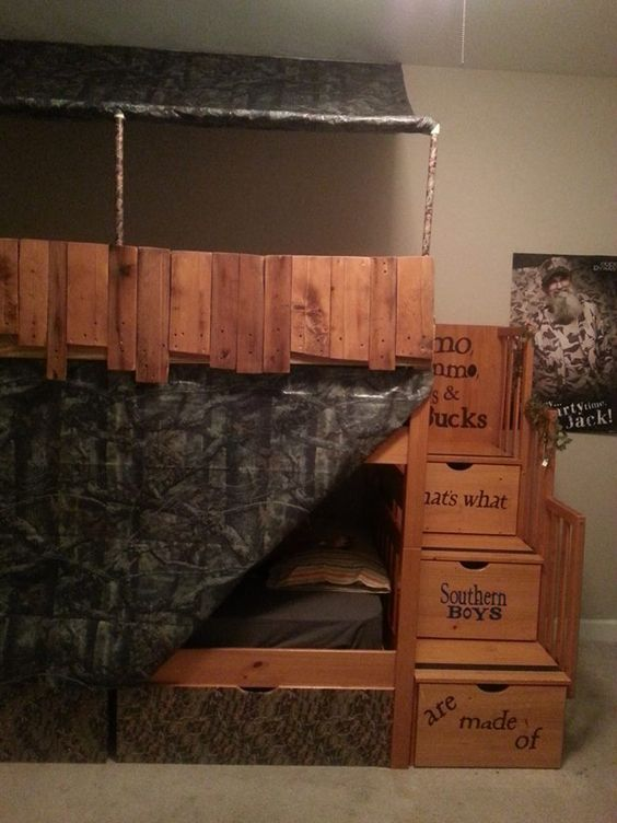 Duck blind bunk bed and hunting on pinterest for Camouflage bedroom ideas for kids