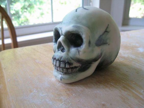 Rice Krispy Skull  Rice Krispy Skull Rice Krispy Skull covered with fondant.  #skulls #halloween #halloweencake #cakecentral