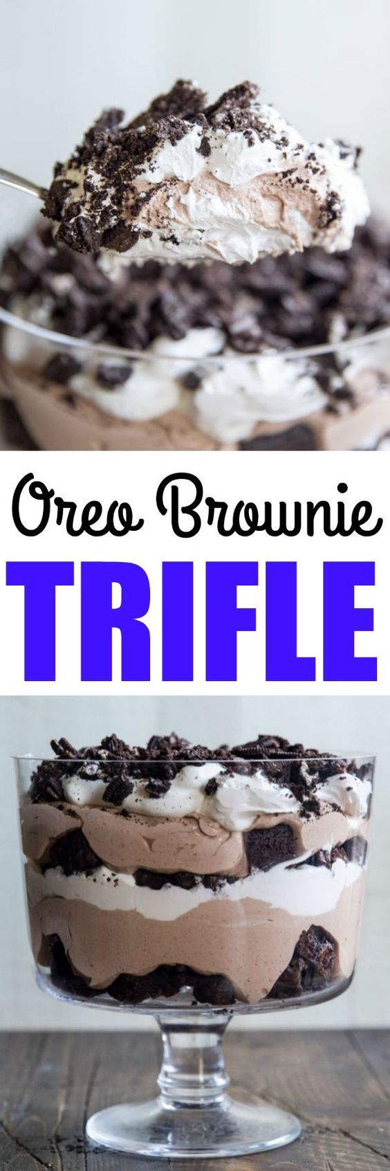 A foursquare photograph showing the Oreo Brownie Trifle from the side Sweet Oreo Brownie Trifle