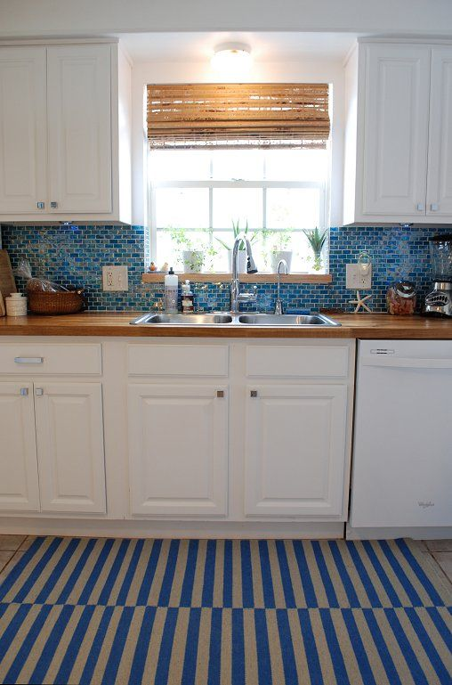 Kitchen Backsplash With Butcher Block Countertops : Kitchen, turquoise backsplash, butcher block counters, white cabinets, white appliances My ...