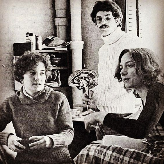 CIA produced its first three medical illustration (later to become biomedical art) grads in May 1977, shown here, left to right: Diane Kastelic, Mark Sabo, and Jan Rapp.