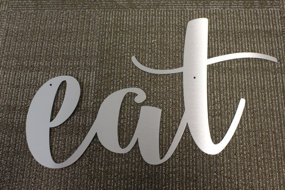 Inverted Metal Signs: EAT, FAMILY, LOVE by GrassRootsHome on Etsy