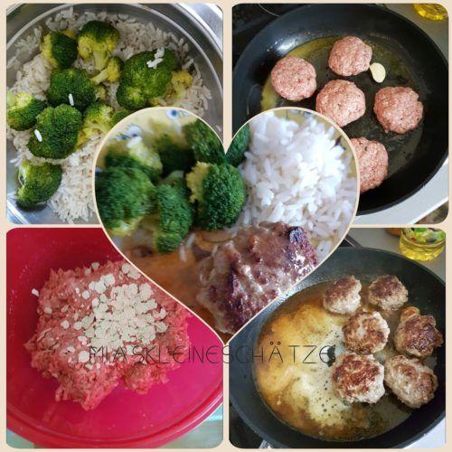 Reis mit Brokkoliröschen dazu Hackfleischbällchen