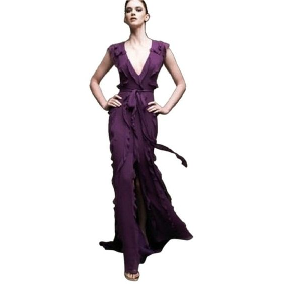 Pre-owned Carolina Herrera Purple Amethyst Gown Dress (£635) ❤ liked on Polyvore featuring dresses, gowns, purple, purple evening dresses, back zipper dress, carolina herrera gown, v neck sleeveless dress and pre owned evening gowns