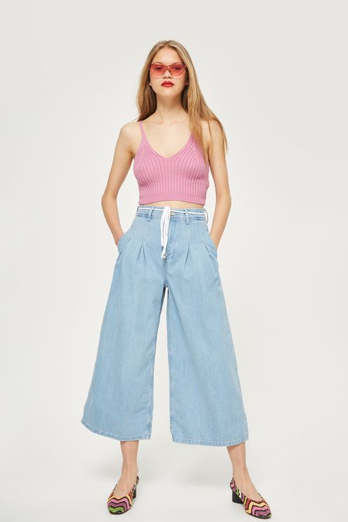 MOTO Bleach Tie Cropped Wide Leg Jeans