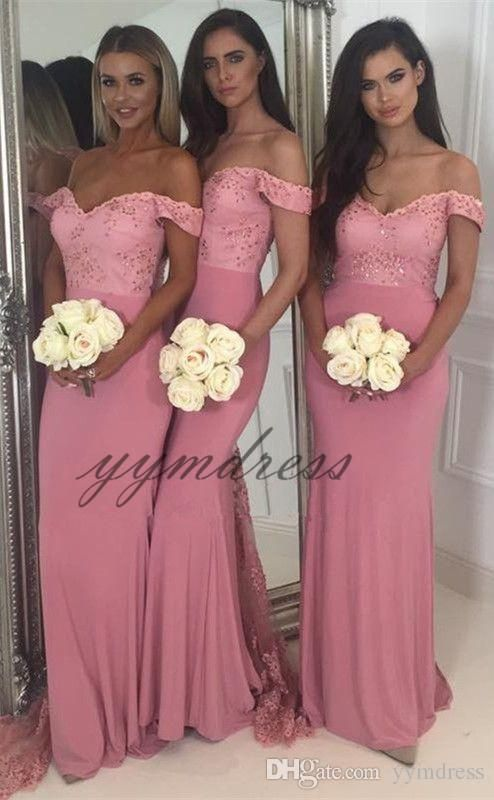 Water Melon Bridesmaid Dresses 2019 Off Shoulder Backless Floor Length With Beads Bla Pink Bridesmaid Dresses Pink Bridesmaid Dresses Uk Maid Of Honour Dresses