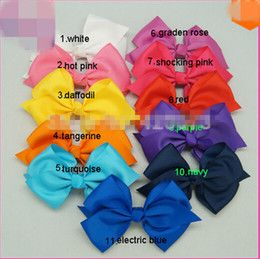 """2016 handmade girls barrettes Free Shipping 30 Pcs Lot 6"""" Solid Hair Bow With Clip"""