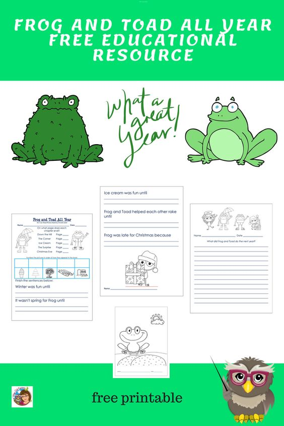 Free Frog And Toad All Year Work Writing Color Page Pdf Frog And Toad Frog Activities Toad