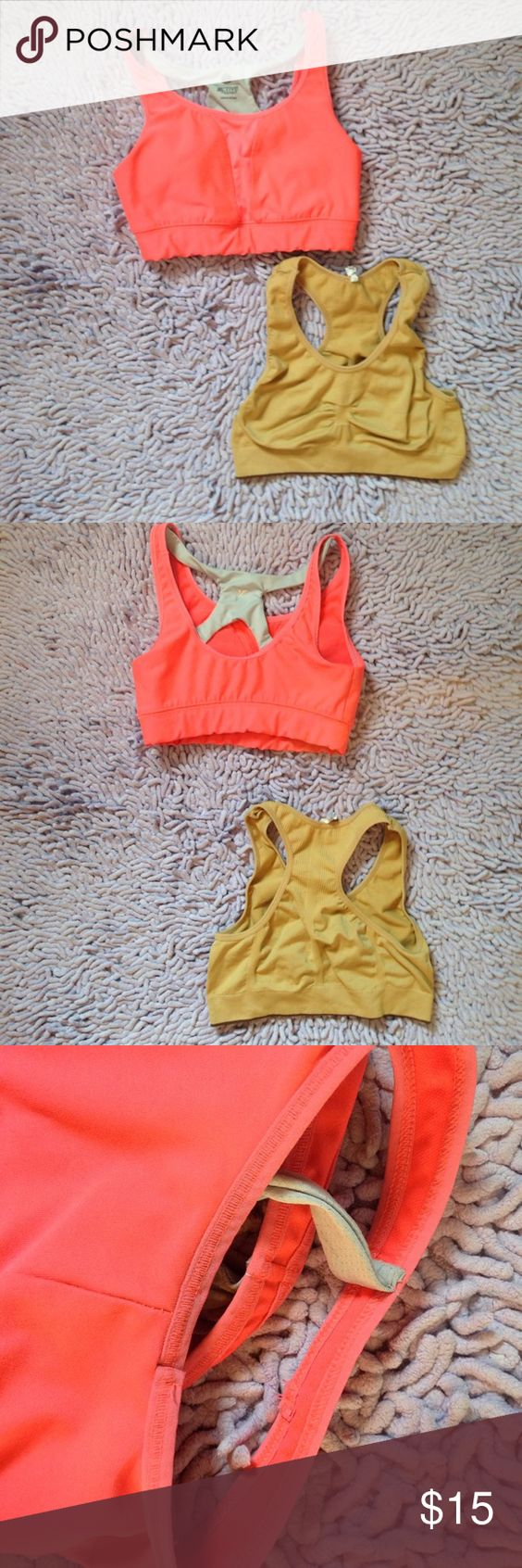 Pink & nude sports bra Tan-NWOT bought off of groupon one size fits all pink-gently used slight signs of wear and tear under the armpits XS bought from old Navy Old Navy Intimates & Sleepwear Bras