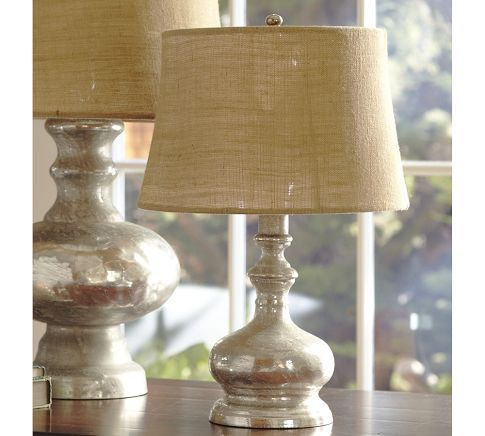 Love it mercury glass bedside lamp with burlap shade for Glass bedside lamp shades