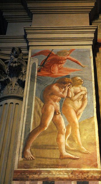 """""""The Expulsion of Adam and Eve from Eden"""" in 1426-28 (restored in 1980) by Masaccio (San Giovani Valdarno 1401 - Rome 1428). Fresco (208x88cm). Cappella Brancacci, Santa Maria del Carmine, Florence. It depicts the expulsion from the biblical Book of Genesis chapter 3, with a few differences. Masaccio's revolutionary use of perspective and movement, his narrative drama and the tragic realism of his figures placed him in the vanguard of Renaissance painting."""