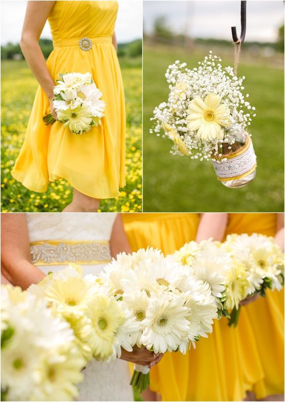 Yellow and white wedding bouquets by Lisa Foster Floral. Wedding at Twin Cedar Farm in Knoxville! Click to view the entire wedding!