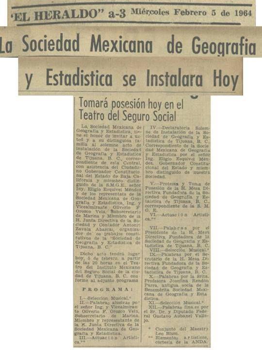 SMGE TIJUANA.- Historia de la SMGE TIJUANA: Fotografías de los Fundadores y la Primera Mesa Directiva de la Sociedad Mexicana de Geografía y Estadística Correspondiente en Tijuana B.C.