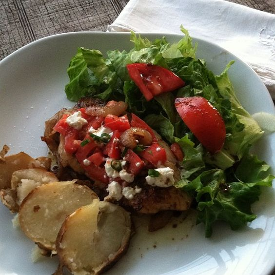 Tilapia with Caramelized Onions Tomatoes and goat cheese