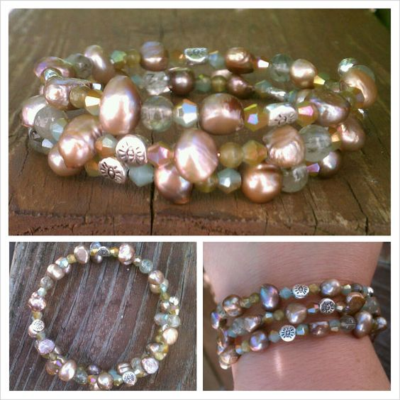 Multi Beaded Taupe Freshwater Pearl Wrap от HyperSensoryDesigns, $25.00