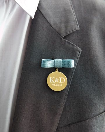 This shiny new take on the traditional lapel flower is an instant heirloom. Have a metal disc engraved for your fiance with your initials and wedding date.