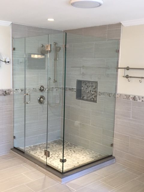 Frameless Corner Enclosure With Glass To Glass Hinges Glass