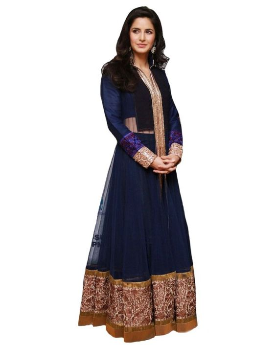 Bollywood Salwar Suits| Kameez | Aishwarya Rai Anarkali | Madhuri Salwaar suit |Kareena Dresses - Katrina Blue Net Dress - Online women clothing