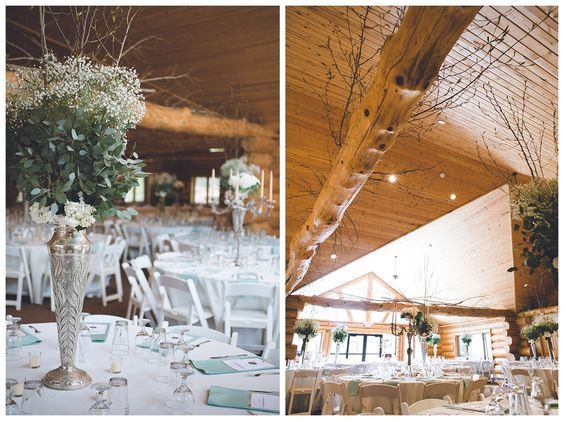 Elegant log cabin ski lodge wedding reception keyes for Elegant log homes