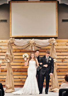 a simple yet beautiful constructed of draped burlap and lace I thereddirtbride.com I see more of this wedding here