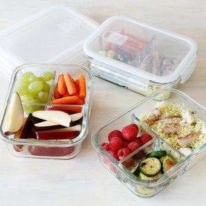 3 Compartment Glass Meal Prep Containers 3 Pack Food Storage
