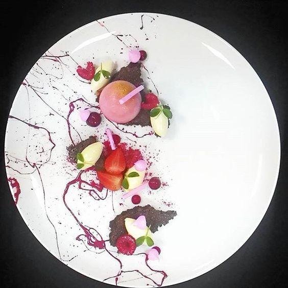 ... chocolate financier, Lechi Cremeux, Strawberry Panna Cotta Raspberry