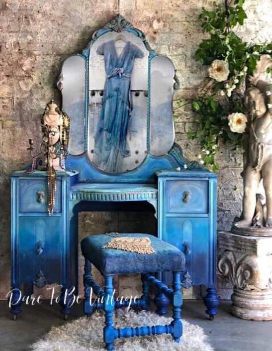 Vintage Vanity Bohemian Blue Vanity Vintage Makeup Vanity Dressing Table Shabby Chic Vanity Painted Vanity Painted Furniture By Daretobevintage Shabby Chic Vanity Vintage Furniture Makeover Painted Vanity