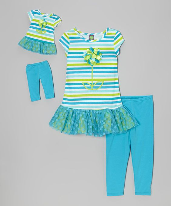 Look what I found on #zulily! Blue Stripe Skirted Tunic Set & Doll Outfit - Toddler & Girls by Dollie & Me #zulilyfinds