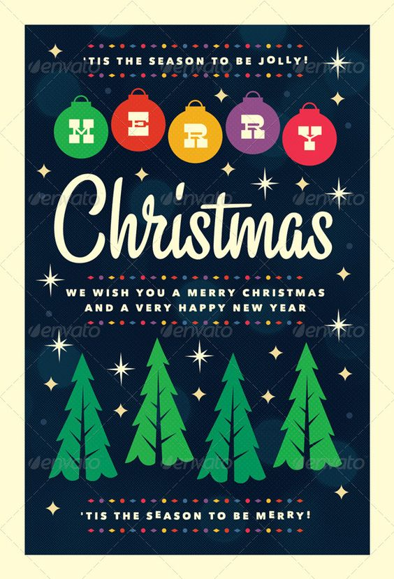 Merry  Christmas Flyer Template  Christmas Trees Adobe And Graphics