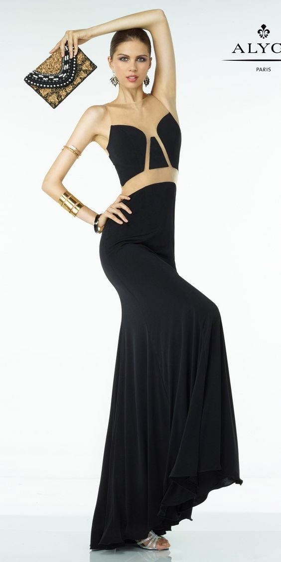 Unique Black Illusion Dress 35818. Colors: Black/Nude. Size: 00-12