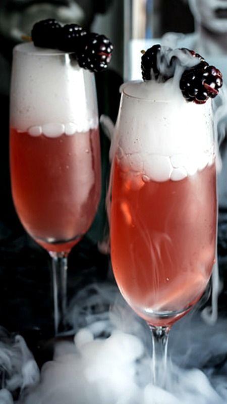 ... Frankenstein Cocktail - Vanilla Blackberry Champagne Cocktail Recipe