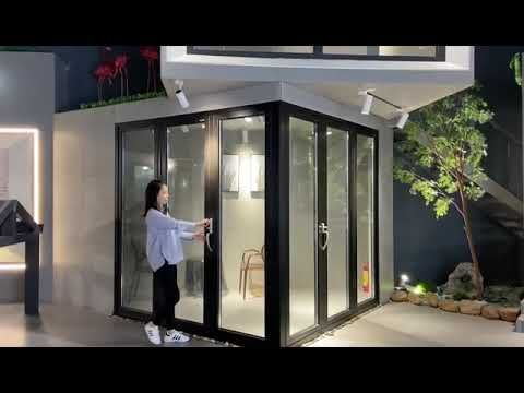 Modern Waterproof Bifold Folding Doors Aluminum Corner Glass Bi Folding In 2020 Glass Doors Patio Aluminium Patio Doors Sliding Folding Doors