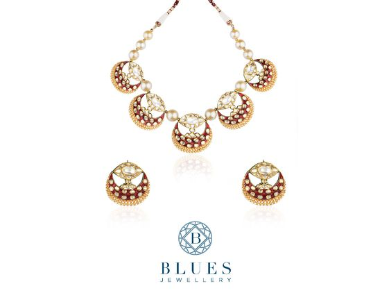 Moonlight Splendour™ Stand out from the crowd like the shining moon in a dark sky with this bold and flamboyant polki necklace-set.  #BluesJewellery #Polki