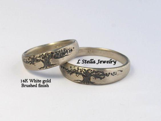Árbol de la vida venda de boda Set 14K cónico por LStellaJewelry