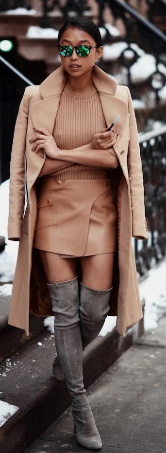 Street style fashion Camel leather skirt,top. Came coat+ high suede boots