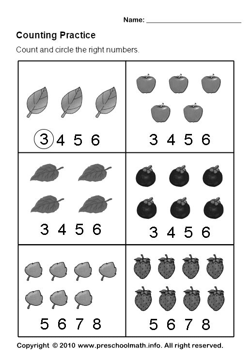 count pictures and circle the correct number. : Pre-K ...
