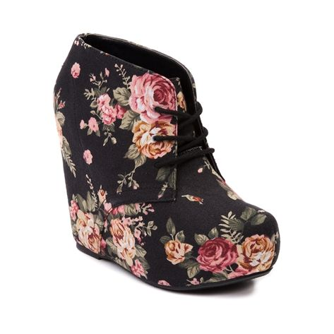 Shop for Womens SHI by Journeys Paigely Wedge, Black, at Journeys Shoes. Turn back the Paige for trendy vintage chic! The Paigely lace-up wedge from SHI features an overlasted vintage floral print textile upper. 5 hidden wedge heel, 1.5 hidden platform.