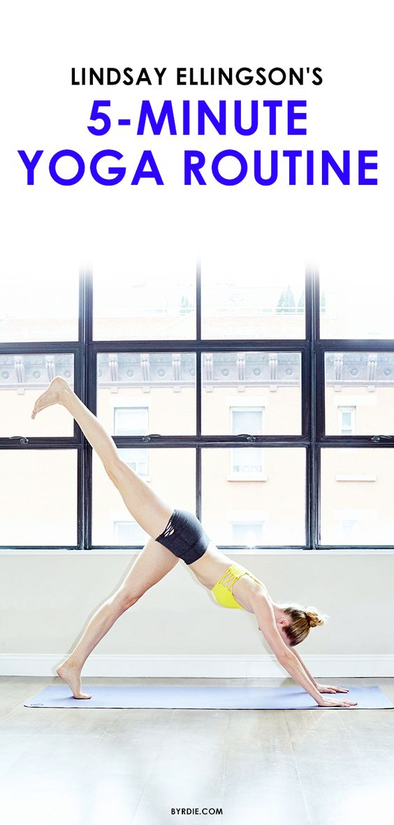 Lindsay Ellingson shares her 5-minute yoga routine for a total-body workout in GIF form